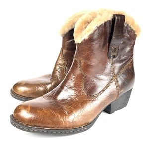 BORN Boots Shearling Fur Ankle Western Booties 8